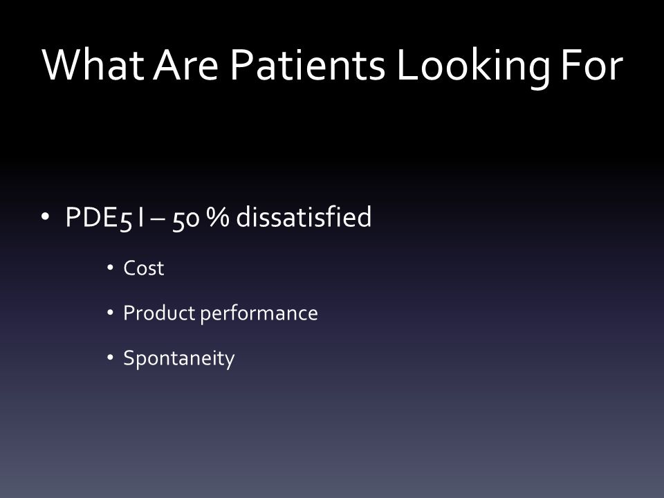 What Are Patients Looking For PDE5 I – 50 % dissatisfied Cost Product performance Spontaneity