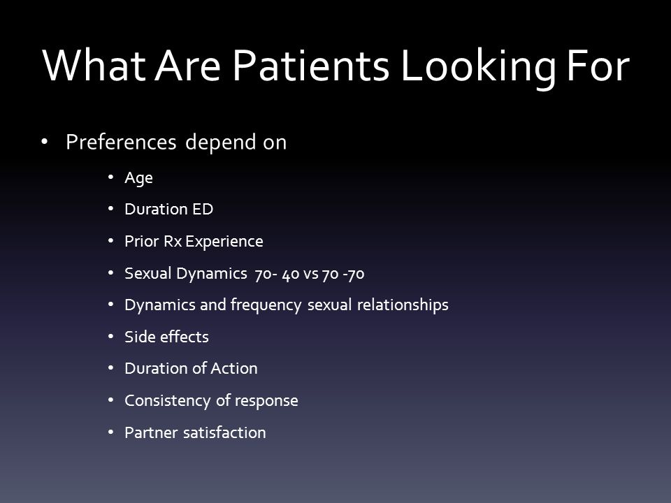 What Are Patients Looking For Preferences depend on Age Duration ED Prior Rx Experience Sexual Dynamics 70- 40 vs 70 -70 Dynamics and frequency sexual