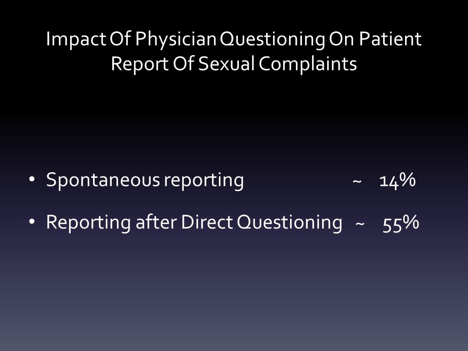 Impact Of Physician Questioning On Patient Report Of Sexual Complaints Spontaneous reporting ~ 14% Reporting after Direct Questioning ~ 55%