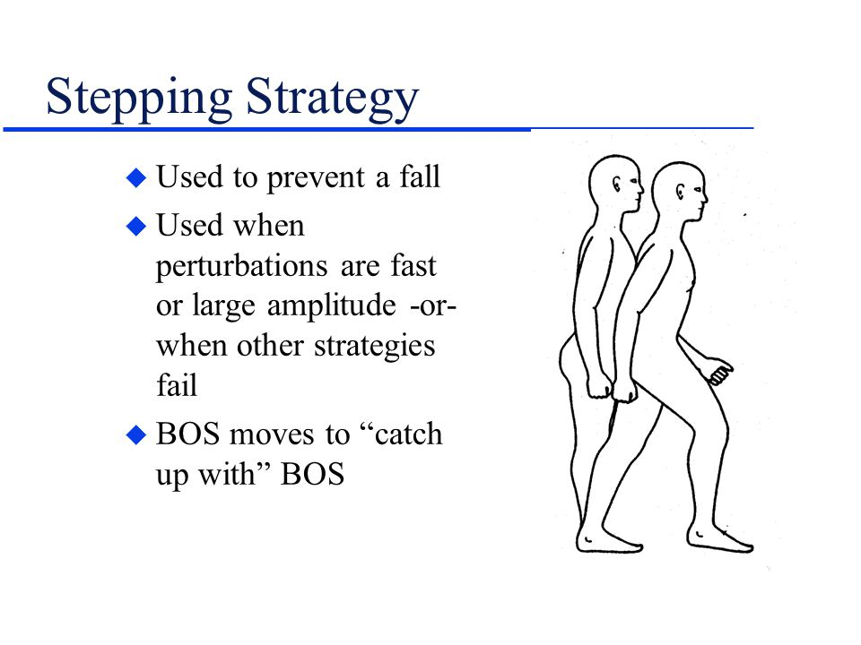 "Stepping Strategy u Used to prevent a fall u Used when perturbations are fast or large amplitude -or- when other strategies fail u BOS moves to ""catch"