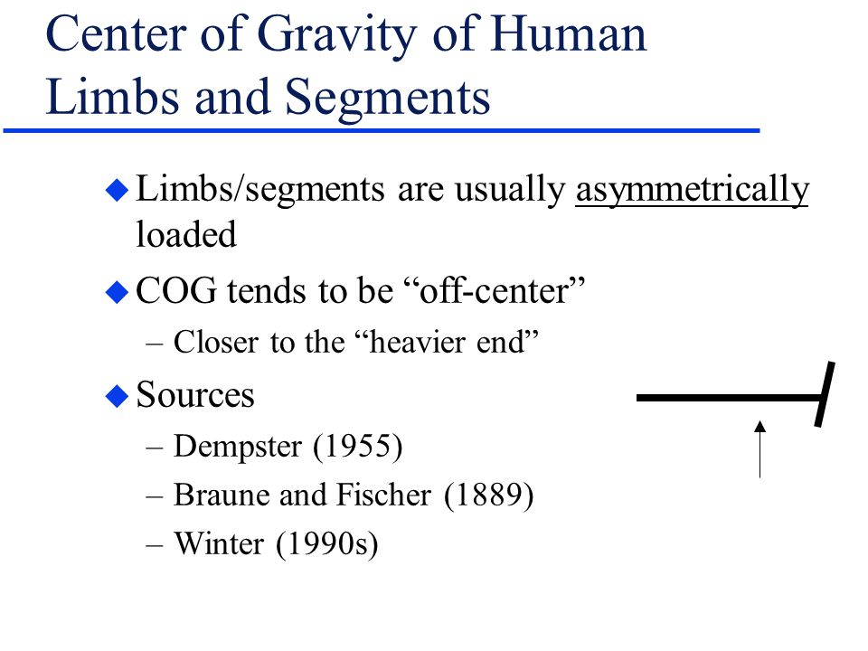 "Center of Gravity of Human Limbs and Segments u Limbs/segments are usually asymmetrically loaded u COG tends to be ""off-center"" –Closer to the ""heavie"