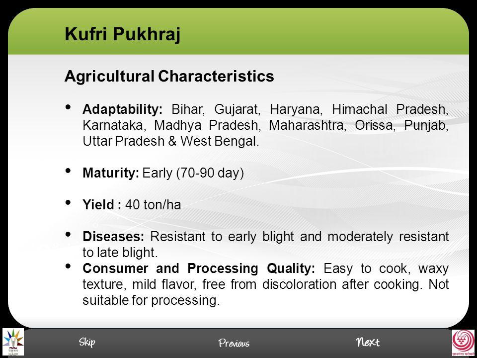 Agricultural Characteristics Adaptability: Bihar, Gujarat, Haryana, Himachal Pradesh, Karnataka, Madhya Pradesh, Maharashtra, Orissa, Punjab, Uttar Pradesh & West Bengal.