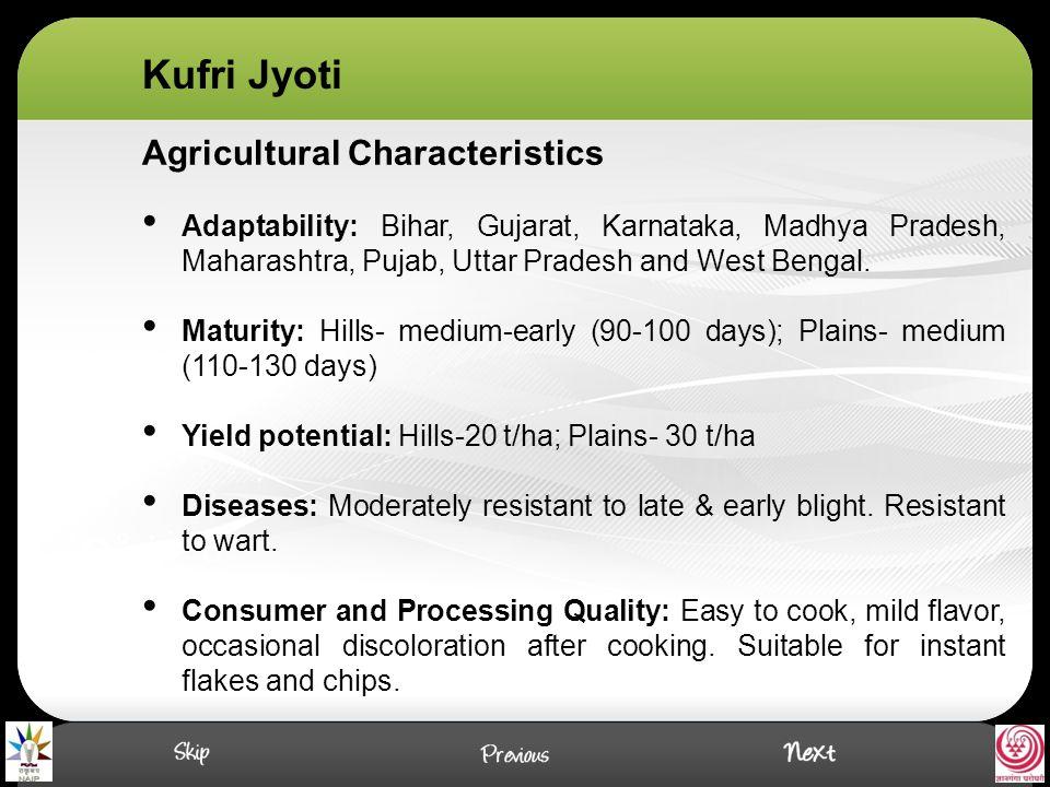 Agricultural Characteristics Adaptability: Bihar, Gujarat, Karnataka, Madhya Pradesh, Maharashtra, Pujab, Uttar Pradesh and West Bengal.