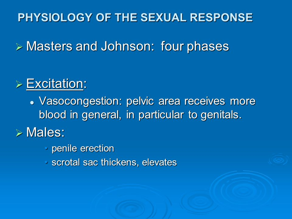 PHYSIOLOGY OF THE SEXUAL RESPONSE  Hormonal Influences on Sex (Cont'd): Hormones are NOT directly responsible for human sexual behaviour, as they are in most animals.