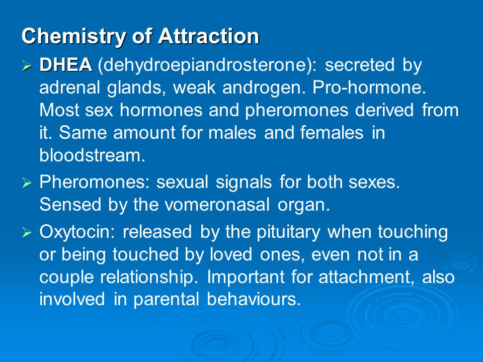 Chemistry of Attraction  DHEA  DHEA (dehydroepiandrosterone): secreted by adrenal glands, weak androgen. Pro-hormone. Most sex hormones and pheromon