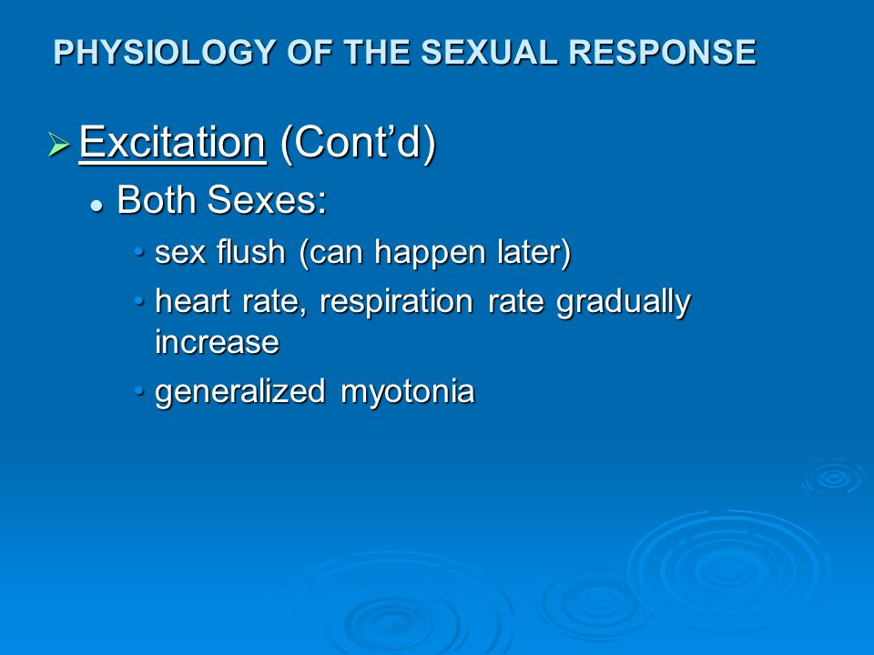 PHYSIOLOGY OF THE SEXUAL RESPONSE  Excitation (Cont'd) Both Sexes: Both Sexes: sex flush (can happen later)sex flush (can happen later) heart rate, r