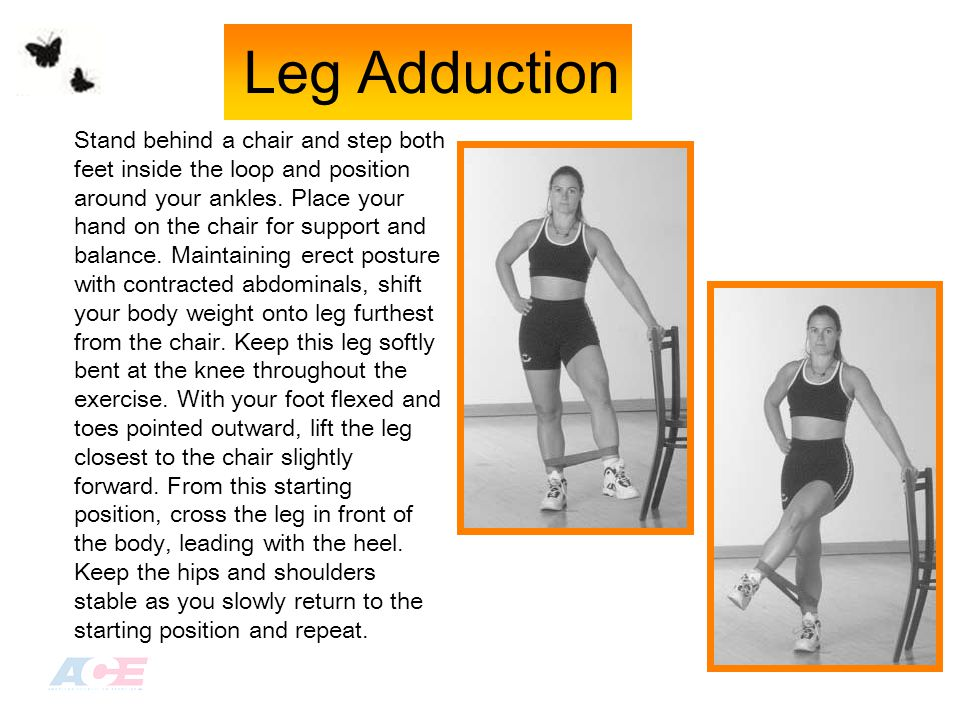Stand behind a chair and step both feet inside the loop and position around your ankles.