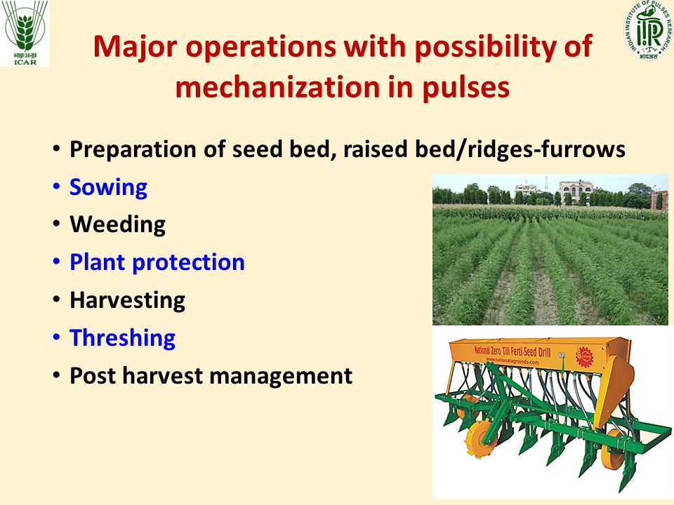 Major operations with possibility of mechanization in pulses Preparation of seed bed, raised bed/ridges-furrows Sowing Weeding Plant protection Harvesting Threshing Post harvest management