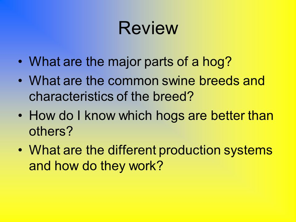 Review What are the major parts of a hog? What are the common swine breeds and characteristics of the breed? How do I know which hogs are better than