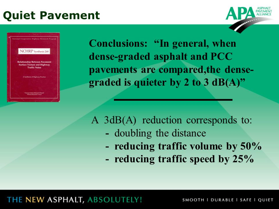 Quiet Pavement A reduction of 3 dB(A) is like doubling the distance from the noise.