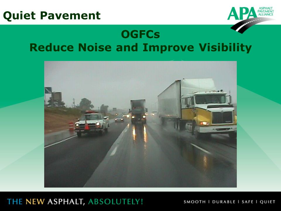 Quiet Pavement Conclusions: Open-graded asphalt shows the greatest potential for noise reduction for passby noise.