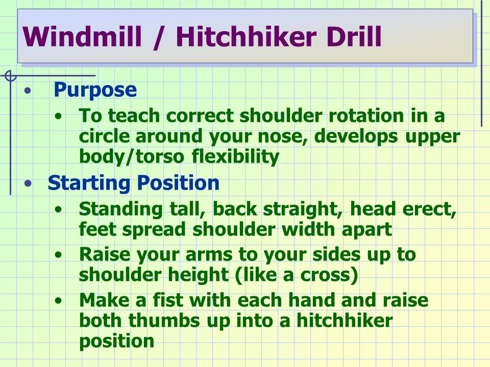 Windmill / Hitchhiker Drill Purpose To teach correct shoulder rotation in a circle around your nose, develops upper body/torso flexibility Starting Po