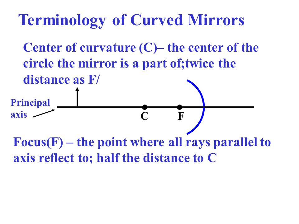 Terminology of Curved Mirrors CF Center of curvature (C)– the center of the circle the mirror is a part of;twice the distance as F/ Focus(F) – the point where all rays parallel to axis reflect to; half the distance to C Principal axis