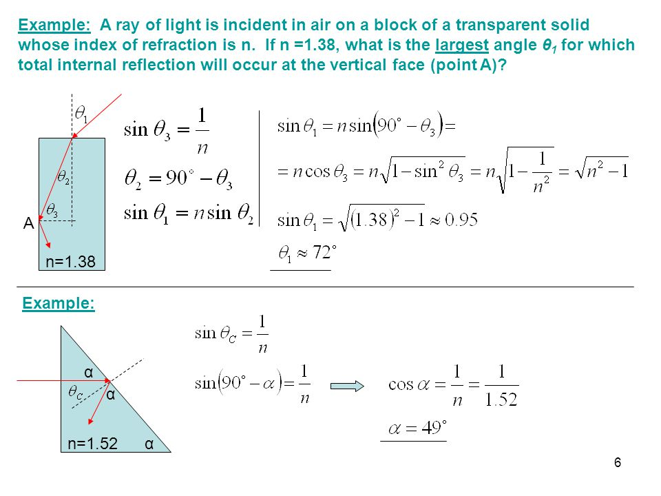 Example: A ray of light is incident in air on a block of a transparent solid whose index of refraction is n. If n =1.38, what is the largest angle θ 1