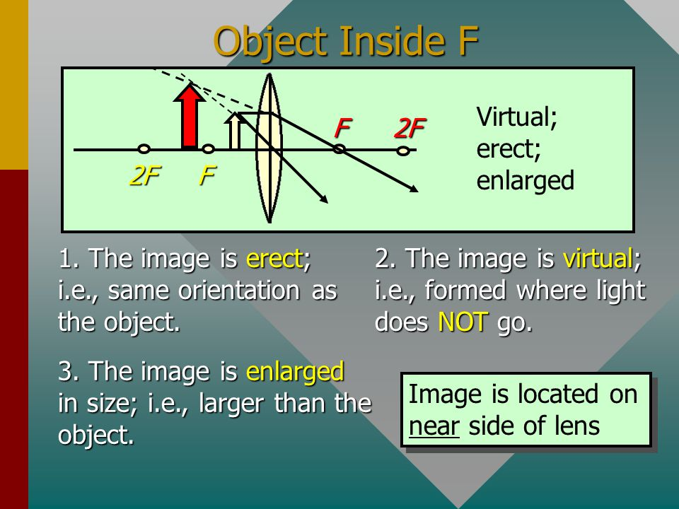 Object at Focal Length F F F 2F 2F When the object is located at the focal length, the rays of light are parallel. The lines never cross, and no image