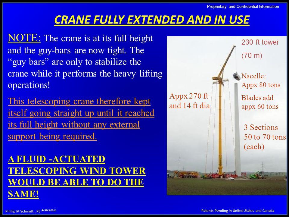 Proprietary and Confidential Information Patents Pending in United States and Canada Phillip M Schmidt, PE © PMS-2011 CRANE FULLY EXTENDED AND IN USE NOTE: The crane is at its full height and the guy-bars are now tight.