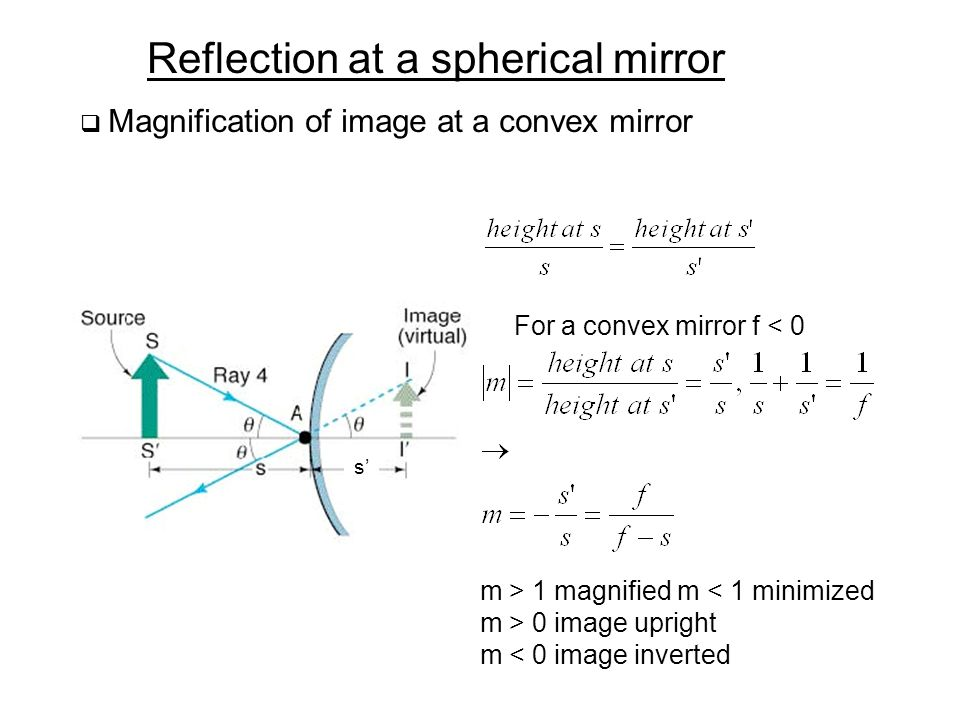 Reflection at a spherical mirror  Magnification of image at a convex mirror s' For a convex mirror f < 0 m > 1 magnified m < 1 minimized m > 0 image