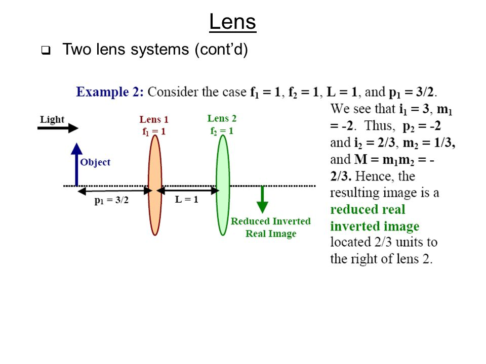 Lens  Two lens systems (cont'd)