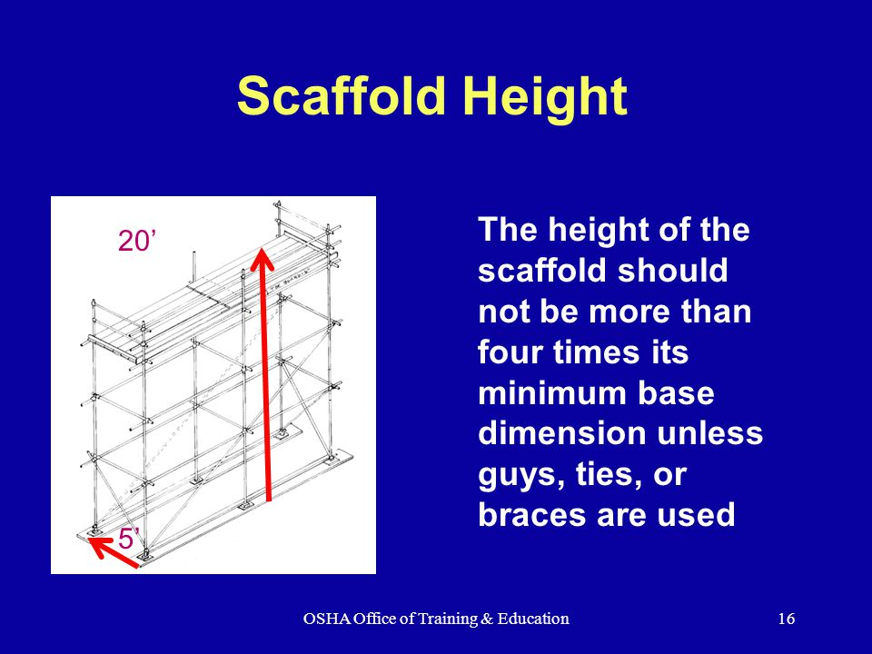 OSHA Office of Training & Education16 Scaffold Height The height of the scaffold should not be more than four times its minimum base dimension unless guys, ties, or braces are used 20' 5'