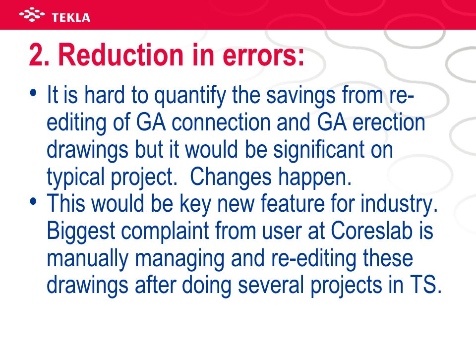 2. Reduction in errors: It is hard to quantify the savings from re- editing of GA connection and GA erection drawings but it would be significant on t