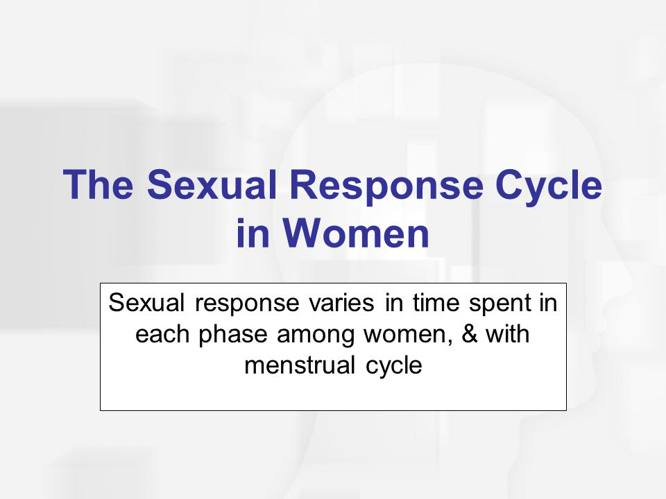 The Sexual Response Cycle in Women Sexual response varies in time spent in each phase among women, & with menstrual cycle