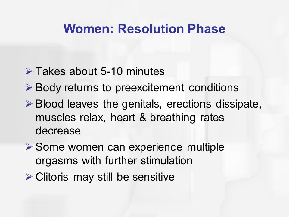 Women: Resolution Phase  Takes about 5-10 minutes  Body returns to preexcitement conditions  Blood leaves the genitals, erections dissipate, muscle