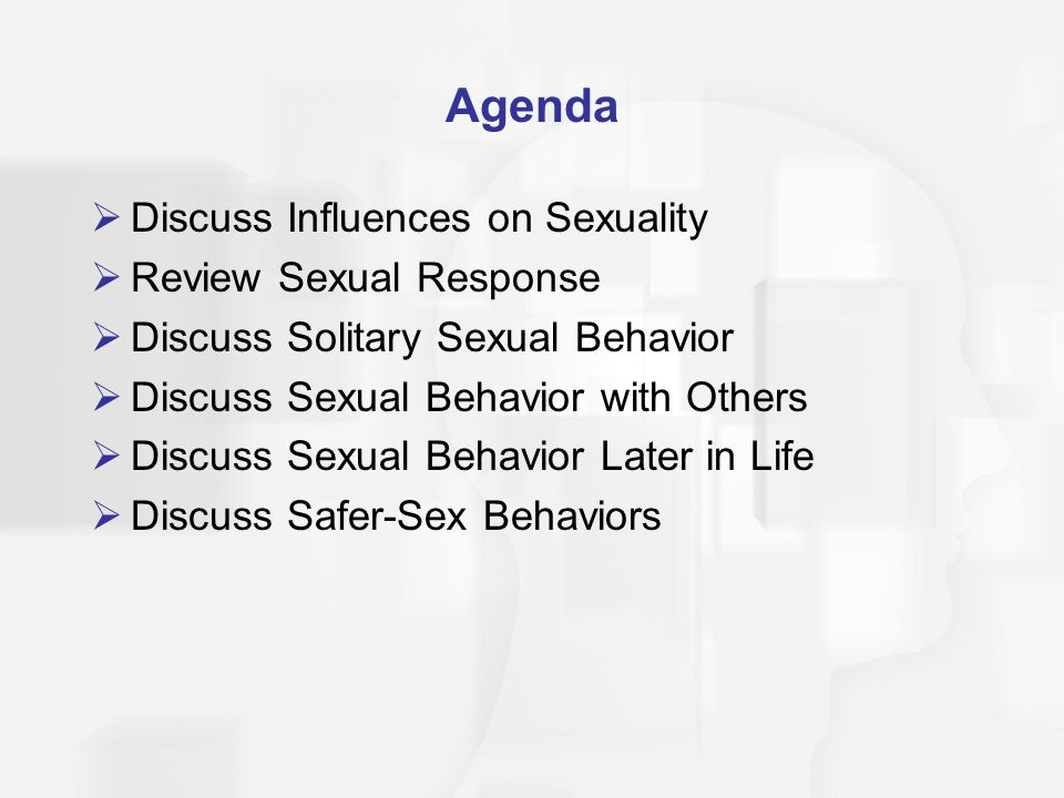 Agenda  Discuss Influences on Sexuality  Review Sexual Response  Discuss Solitary Sexual Behavior  Discuss Sexual Behavior with Others  Discuss S