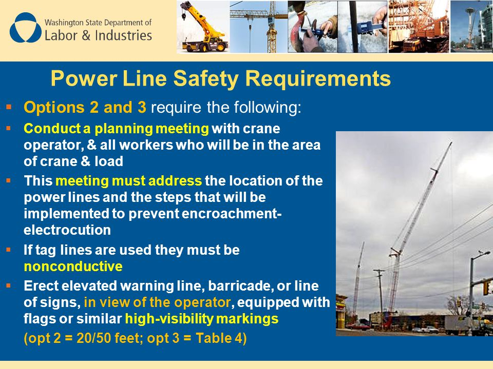 Power Line Safety Requirements  Options 2 and 3 require the following:  Conduct a planning meeting with crane operator, & all workers who will be in