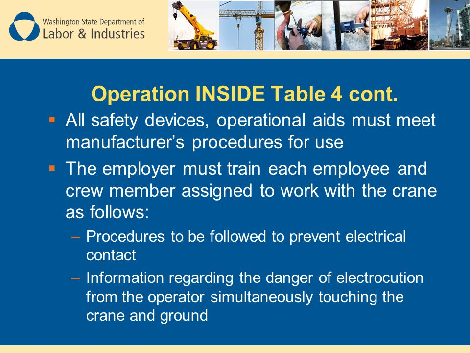 Operation INSIDE Table 4 cont.  All safety devices, operational aids must meet manufacturer's procedures for use  The employer must train each emplo