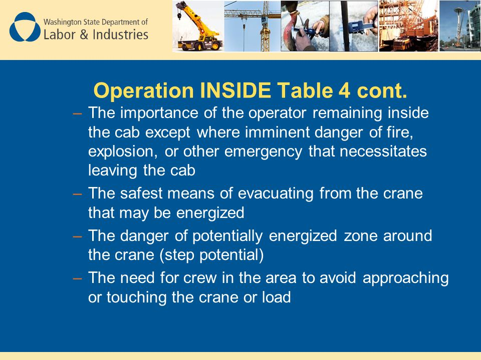 Operation INSIDE Table 4 cont. –The importance of the operator remaining inside the cab except where imminent danger of fire, explosion, or other emer