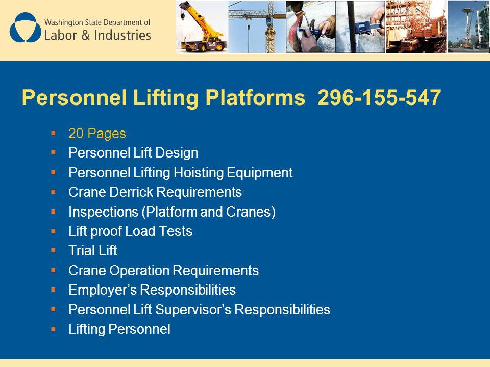 Personnel Lifting Platforms 296-155-547  20 Pages  Personnel Lift Design  Personnel Lifting Hoisting Equipment  Crane Derrick Requirements  Inspe