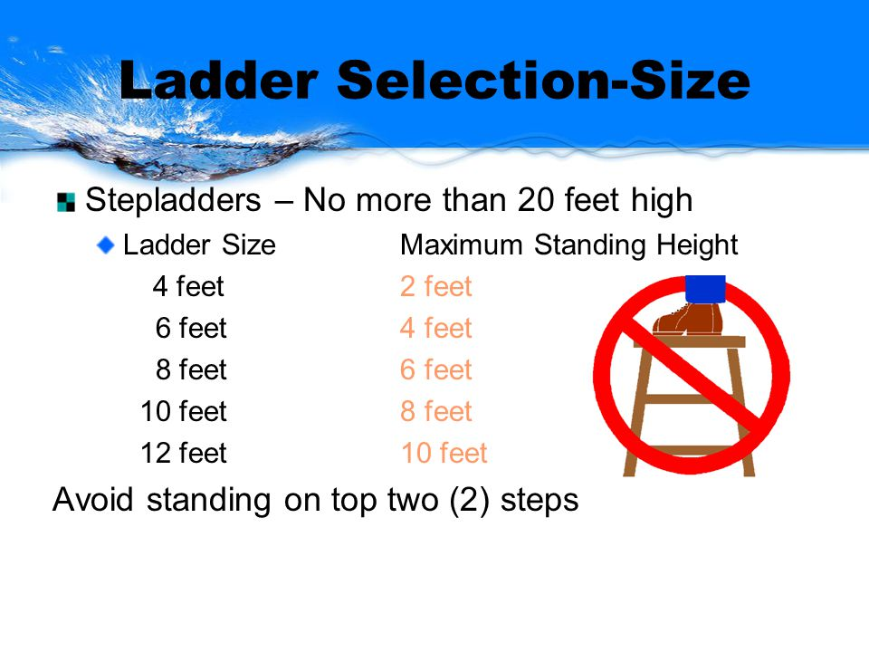 Ladder Selection-Size Stepladders – No more than 20 feet high Ladder SizeMaximum Standing Height 4 feet 2 feet 6 feet4 feet 8 feet6 feet 10 feet8 feet 12 feet10 feet Avoid standing on top two (2) steps