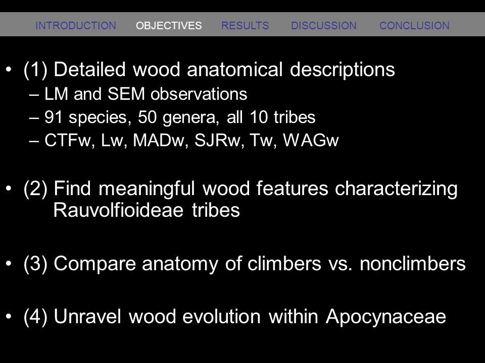 (1) Detailed wood anatomical descriptions –LM and SEM observations –91 species, 50 genera, all 10 tribes –CTFw, Lw, MADw, SJRw, Tw, WAGw (2) Find mean