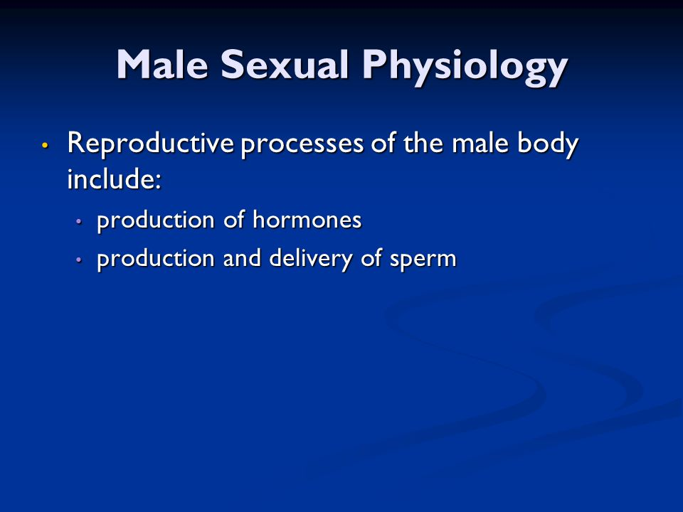 Male Sexual Physiology Reproductive processes of the male body include: Reproductive processes of the male body include: production of hormones produc