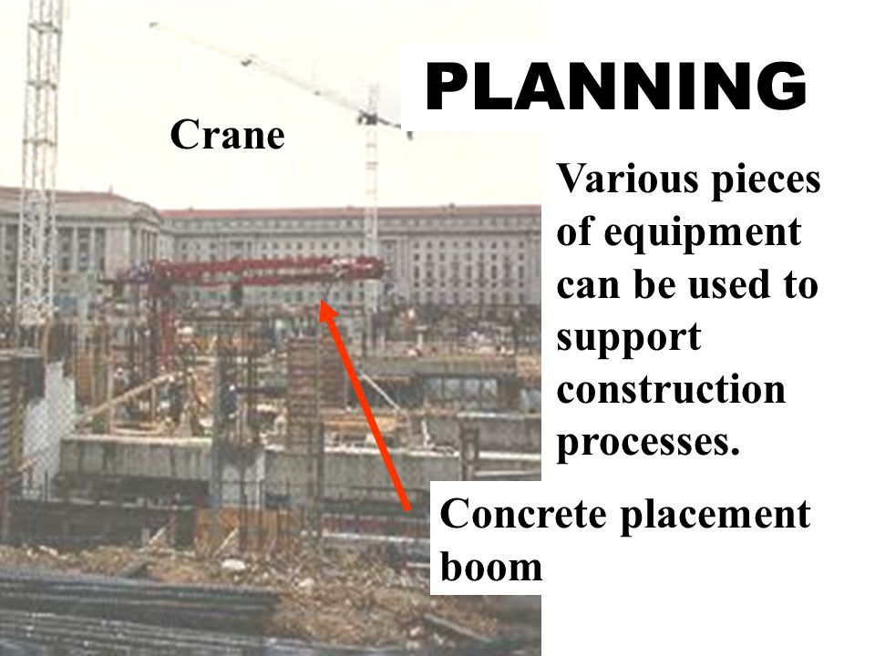 Various pieces of equipment can be used to support construction processes.