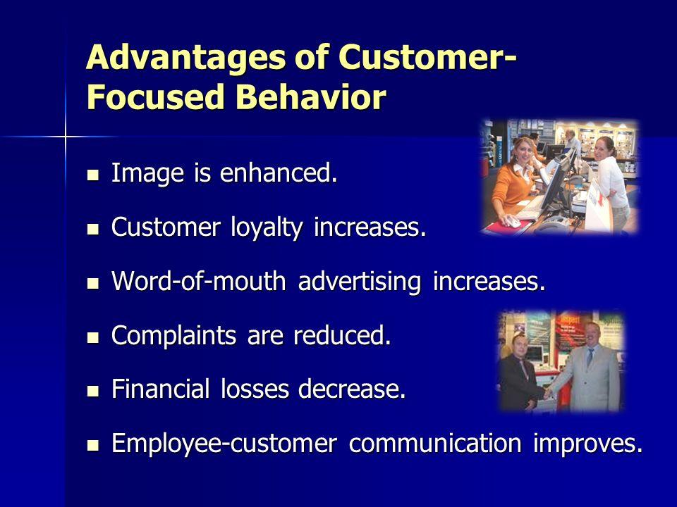 Advantages of Customer- Focused Behavior Image is enhanced.