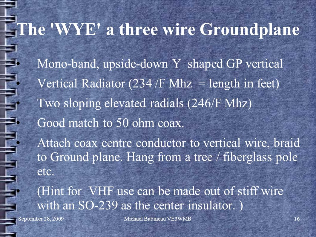 September 28, 2009Michael Babineau VE3WMB16 The WYE a three wire Groundplane Mono-band, upside-down Y shaped GP vertical Vertical Radiator (234 /F Mhz = length in feet) Two sloping elevated radials (246/F Mhz) Good match to 50 ohm coax.