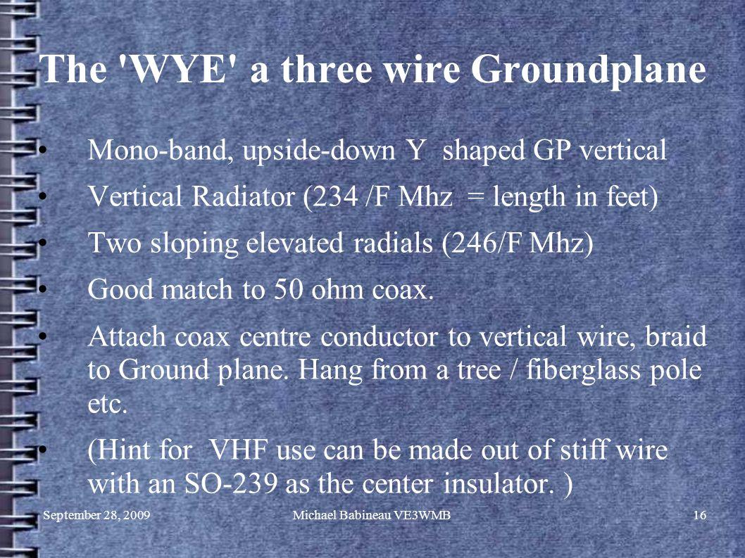 September 28, 2009Michael Babineau VE3WMB16 The 'WYE' a three wire Groundplane Mono-band, upside-down Y shaped GP vertical Vertical Radiator (234 /F M