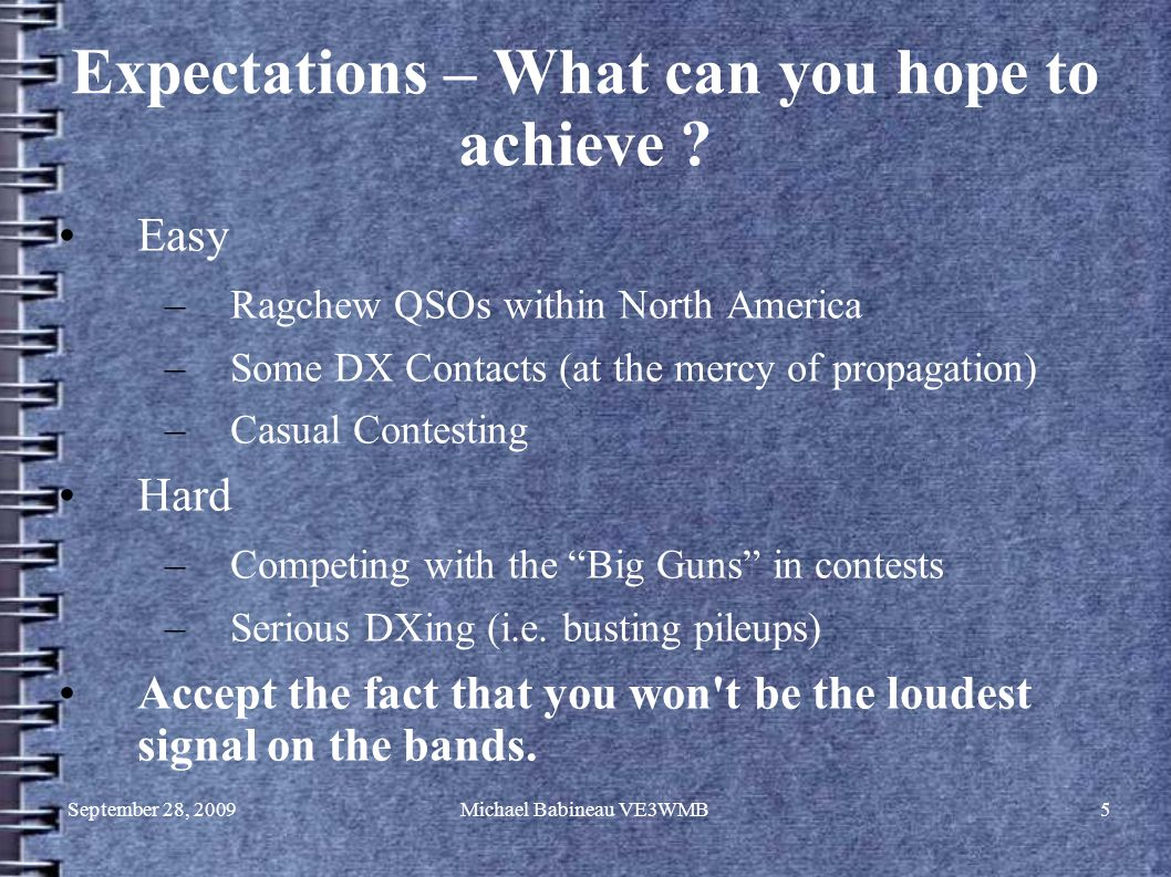 September 28, 2009Michael Babineau VE3WMB5 Expectations – What can you hope to achieve .