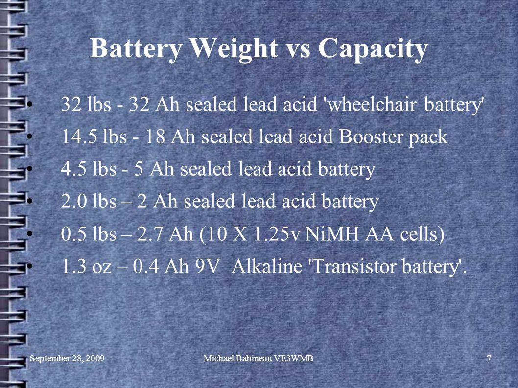 September 28, 2009Michael Babineau VE3WMB7 Battery Weight vs Capacity 32 lbs - 32 Ah sealed lead acid 'wheelchair battery' 14.5 lbs - 18 Ah sealed lea