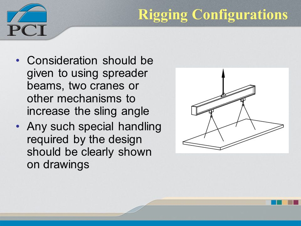 Rigging Configurations Consideration should be given to using spreader beams, two cranes or other mechanisms to increase the sling angle Any such spec