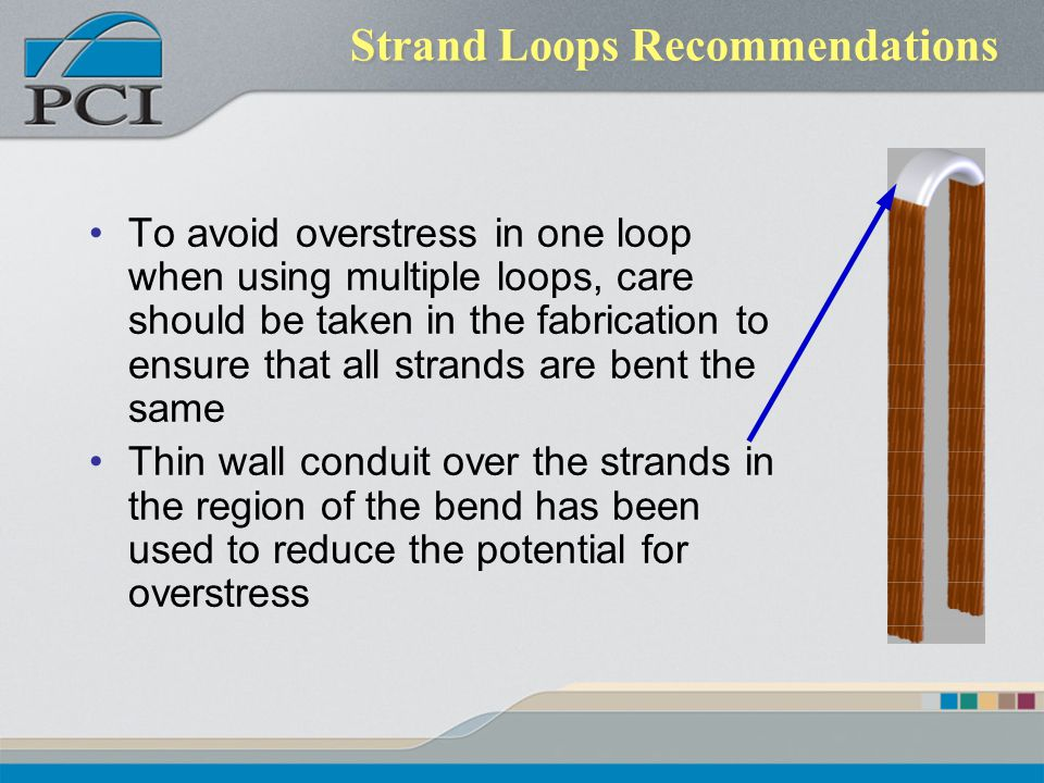 Strand Loops Recommendations To avoid overstress in one loop when using multiple loops, care should be taken in the fabrication to ensure that all str