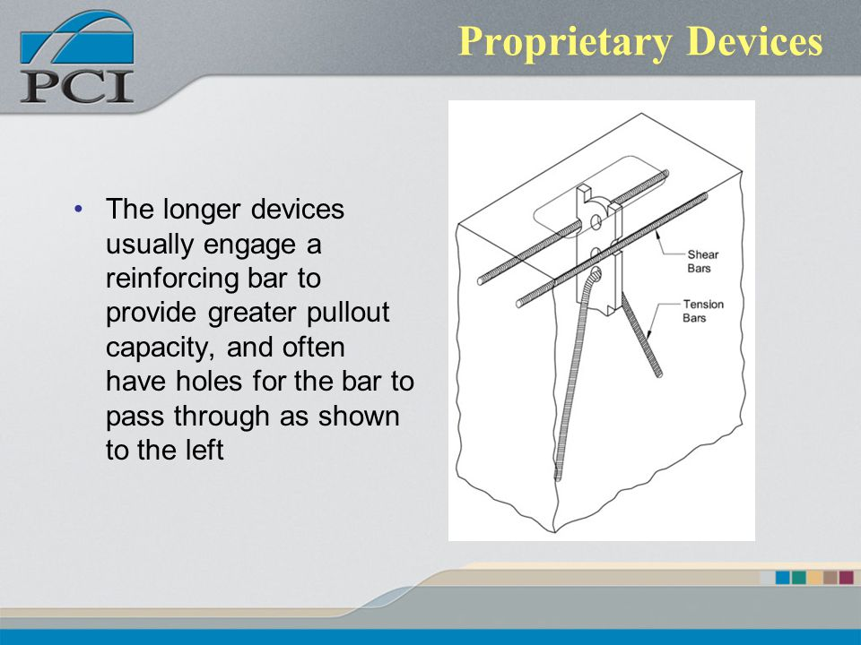Proprietary Devices The longer devices usually engage a reinforcing bar to provide greater pullout capacity, and often have holes for the bar to pass