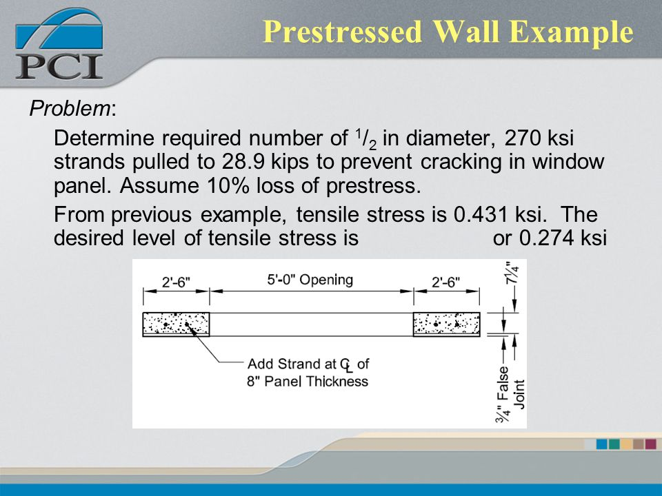 Prestressed Wall Example Problem: Determine required number of 1 / 2 in diameter, 270 ksi strands pulled to 28.9 kips to prevent cracking in window pa
