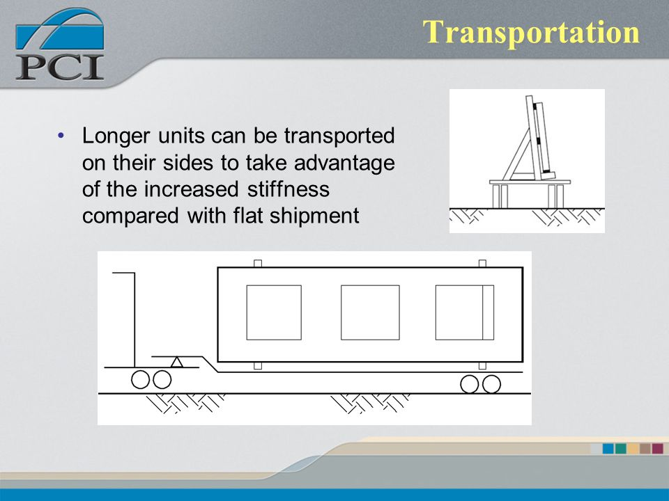 Transportation Longer units can be transported on their sides to take advantage of the increased stiffness compared with flat shipment