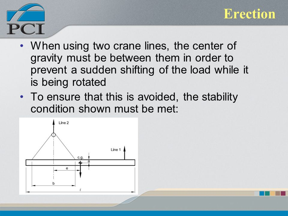 Erection When using two crane lines, the center of gravity must be between them in order to prevent a sudden shifting of the load while it is being ro
