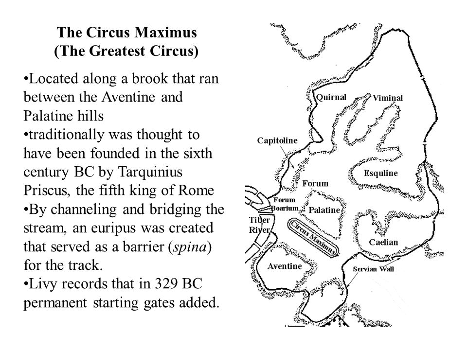 Located along a brook that ran between the Aventine and Palatine hills traditionally was thought to have been founded in the sixth century BC by Tarquinius Priscus, the fifth king of Rome By channeling and bridging the stream, an euripus was created that served as a barrier (spina) for the track.