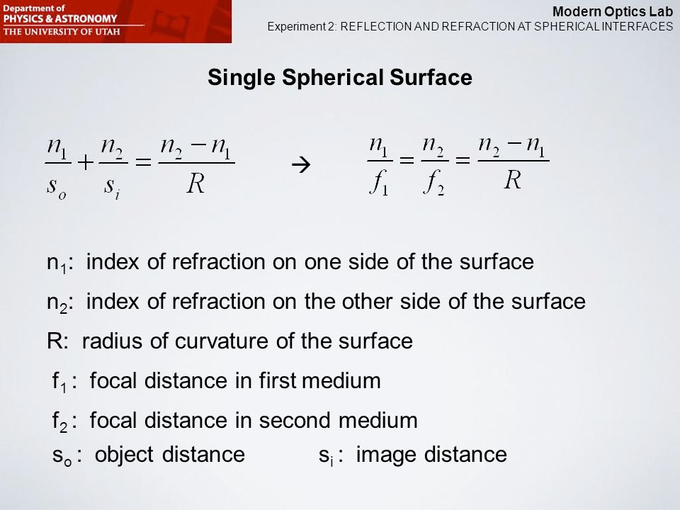 Modern Optics Lab Experiment 2: REFLECTION AND REFRACTION AT SPHERICAL INTERFACES Single Spherical Surface n 1 : index of refraction on one side of the surface n 2 : index of refraction on the other side of the surface R: radius of curvature of the surface f 1 : focal distance in first medium f 2 : focal distance in second medium s o : object distances i : image distance 