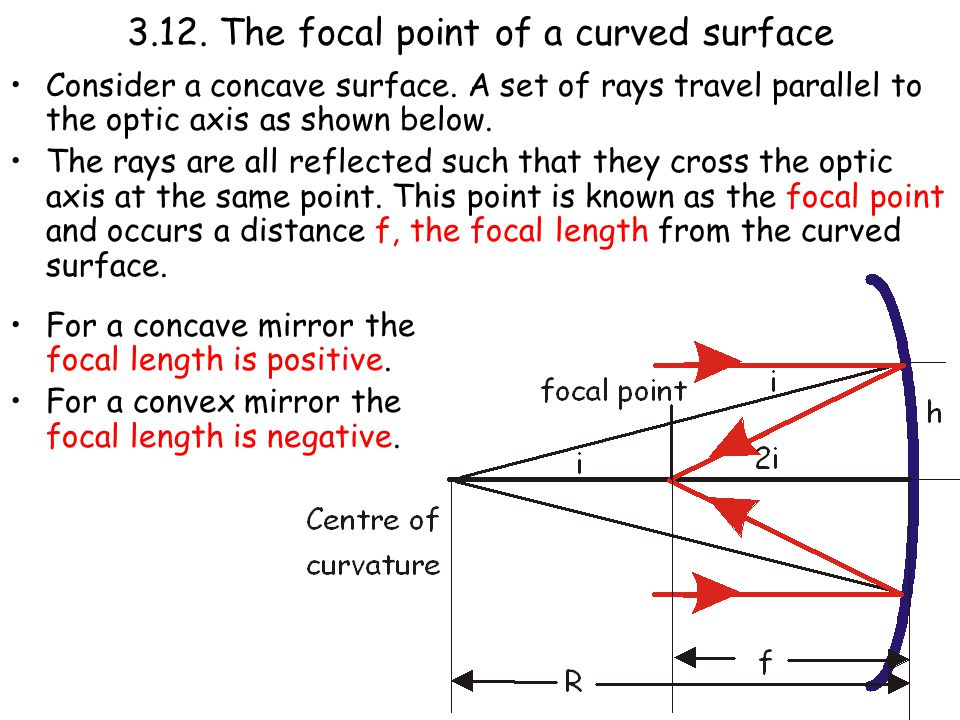 3.12. The focal point of a curved surface Consider a concave surface.