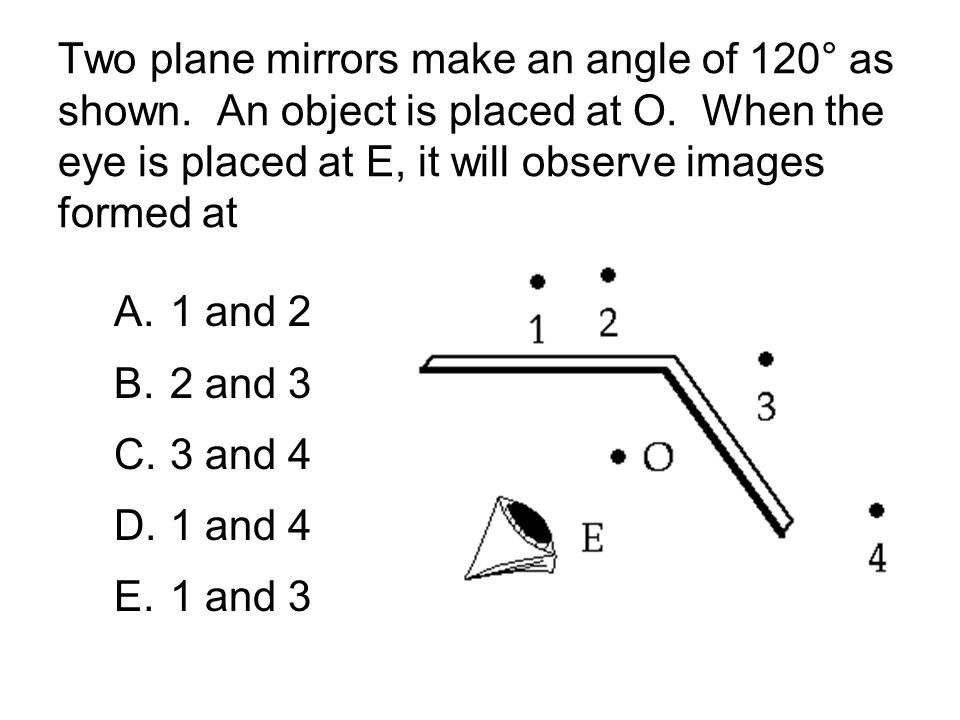 Two plane mirrors make an angle of 120° as shown. An object is placed at O. When the eye is placed at E, it will observe images formed at A.1 and 2 B.